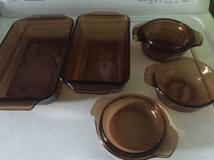 """Pyrex amber brown set of 6 rectangular 6x9"""" and 7x10"""" 2 lidded 5 1/2"""" round for Sale in Miami, FL"""