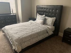Trendy Queen size bed with mattress, dresser, and nightstands for Sale in Las Vegas, NV