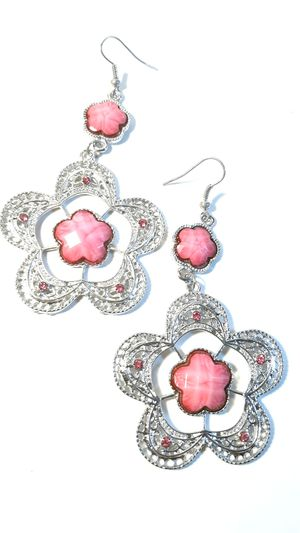 Pink Stone Flower earrings for Sale in Columbus Air Force Base, MS
