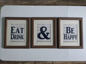 EAT DRINK & BE HAPPY Dining room/kitchen wall decor for Sale in Trenton, NJ