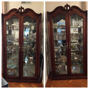 Two Wood with glass doors and shelves wall units and with lights for Sale in Brooklyn, NY