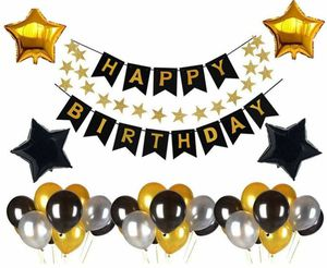 Birthday Decorations Happy Birthdays Banner Garland 27pcs Latex Party Balloons 4 Foil Balloons Party Supplies for Sale in Torrance, CA