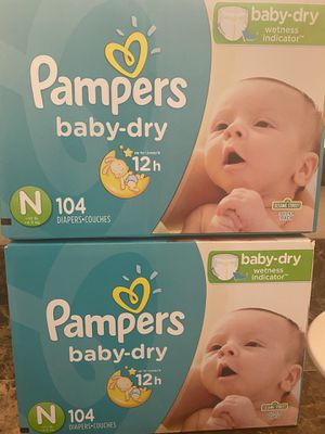 Newborn diapers pampers brand 104 count for Sale in Fontana, CA