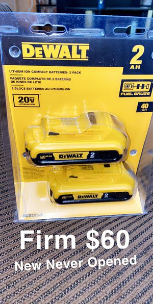 New Dewalt set of (2) Batteries 2ah for Sale in Fresno, CA