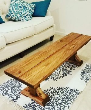 Handmade solid wood bench. coffee table. Patio furniture. Silla de madera. Mesa for Sale in Homestead, FL