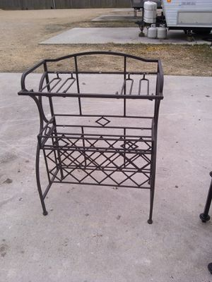 Wine rack with glass holders and two glass shelves for Sale in Anahuac, TX