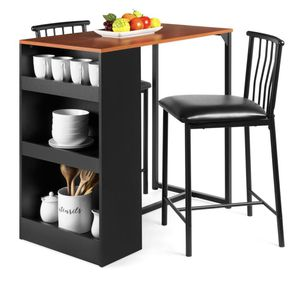 3-Piece Counter Height Kitchen Dining Table Set w/ Storage Shelves for Sale in Cleveland, OH