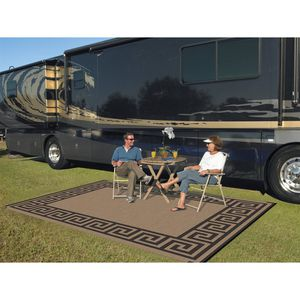 9' x 12' Reversible RV Camping Mat Indoor Outdoor Rug Greek Key for Sale in Los Angeles, CA
