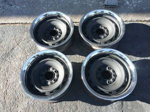 Chevy truck or van C10 Rally rims and beauty rings. 15 in for Sale in Montebello, CA