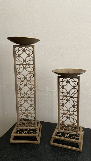 Bronze gold candle holders home decor for Sale in Bakersfield, CA