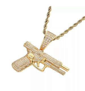 """14k Gold Plated Gun Pendant & 24"""" Rope Chain for Sale in Brooklyn, NY"""