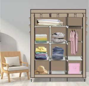 Closet Organizer Storage Rack Portable Clothes w/ Side Shoe Bag Beige for Sale in Ontario, CA