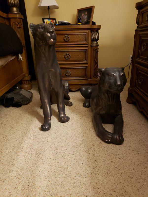 Black panther ceramic statues