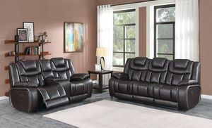 New high-performance leather espresso powered USB lighted reclining sofa and loveseat for Sale in Hyattsville, MD