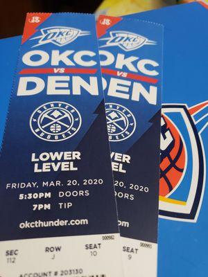 Nuggets vs thunder for Sale in Oklahoma City, OK