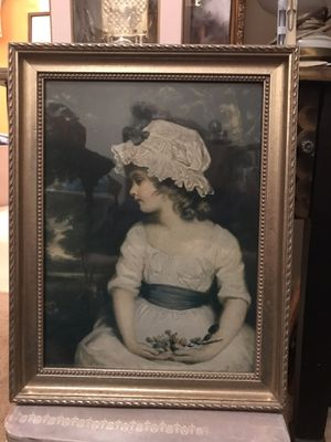 """Beautiful "" Vintage Victorian picture with girl & flowers for Sale in Gainesville, VA"