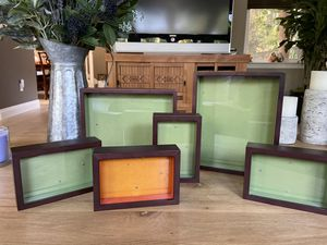 Set of 6 wood and glass picture frames for Sale in Vallejo, CA