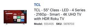 55' Smart TV 4K TCL w/Roku for Sale in Las Vegas, NV