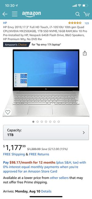 Hp laptop envy for Sale in Pawtucket, RI