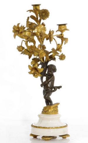 Antique 19th Century Antique Louis XV Style Bronze & Marble Figural Candelabrum for Sale in Los Angeles, CA