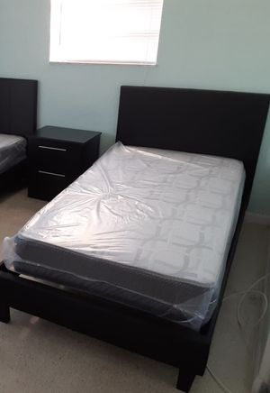 New twin platform bed frame with mattress. One nightstand. Delivery for Sale in Boynton Beach, FL
