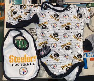 Pittsbugh Steelers 0-3 Ms Onesize & Cap , Bibb, & Stuffed bear for Sale in Akron, OH