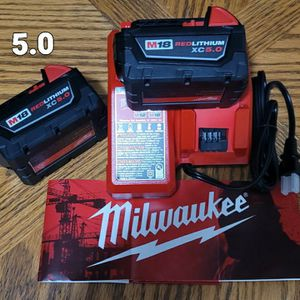 Milwaukee M18 18-Volt Lithium-Ion Batteries 5.0 Ah And Charger 🔴🔴🔴Brand New for Sale in Fort Lauderdale, FL