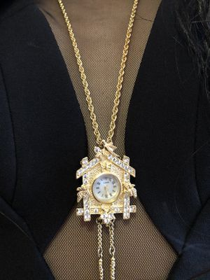 Bavarian Vintage Cuckoo Clock Pendant Necklace 14K Gold Plated With 28 Inch Chain Stamped for Sale in FSTRVL TRVOSE, PA