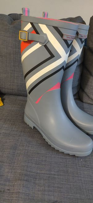 Vera Bradley Waterproof Rain Boots - Size 9- Grey/Pink/Black/White for Sale in San Jose, CA