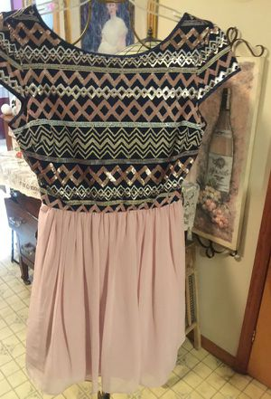Gorgeous designer dress Rose colored sequins blue and white bottom pleated full short zip back Couture style size 14 for Sale in Northfield, OH