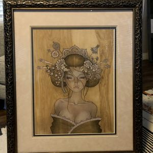 RARE! AUDREY KAWASAKI YUUWAKU ARTIST FRAMED SIGNED GEISHA ART PRINT 2010 MINT for Sale in Signal Hill, CA