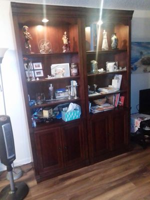 2 bookshelves with lights and storage on bottom for Sale in Pompano Beach, FL