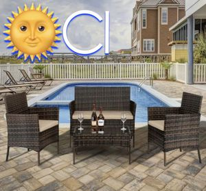 Brand New! 4 Piece Brown with Cushions Outdoor Balcony Patio Furniture Set for Sale in Orlando, FL