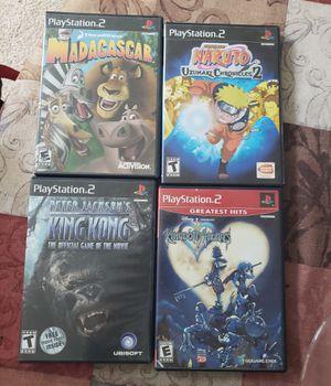 Four playstation 2 games. Kingdom hearts, king Kong, naruto uzamaki chronicles 2, Madagascar for Sale in Everett, WA