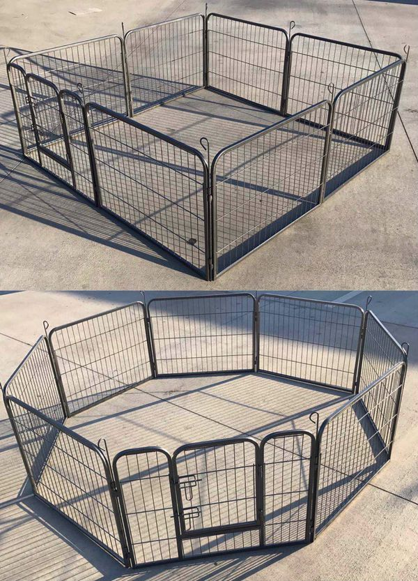 New in box 24 inch tall x 32 inches wide each panel x 8 panels heavy duty exercise playpen fence safety gate dog cage crate kennel expandable fence g