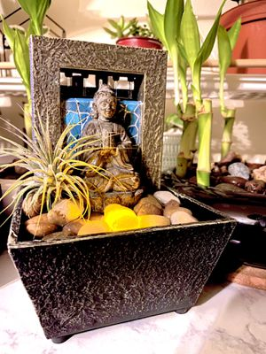 Mosaic Buddha river stones indoor water fountain light up Zen decor Tillandsia air plant soothing hobo plants house decor birthday gift for Sale in Covina, CA