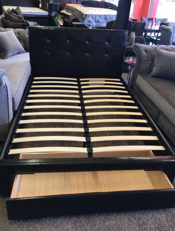 Brand New Full Size Leather Platform Bed w/Storage Drawer