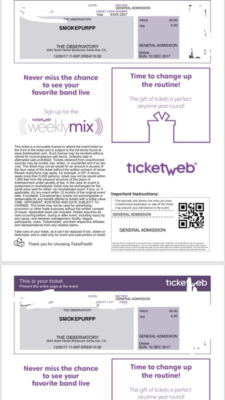 Smoke purp tickets