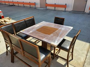 Bar height kitchen table w/ leather bench seats for Sale in San Diego, CA