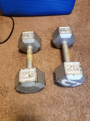 20lb dumbbells cast iron hex for Sale in Chicago, IL
