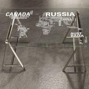 Glass Top Desk w/ World Map for Sale in College Park, GA