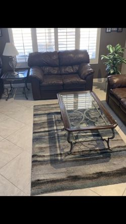 Leather Furniture With Tables And Lamps for Sale in Sun City,  AZ