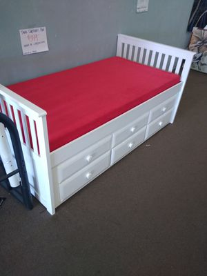 White Twin size Captains Bed frame with trundle and drawers with Red Memory Foam Mattresses included for Sale in Glendale, AZ