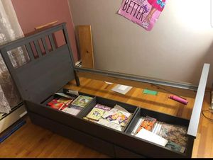 Twin dark gray bed frame with 2 storage boxes for Sale in Flemington, NJ