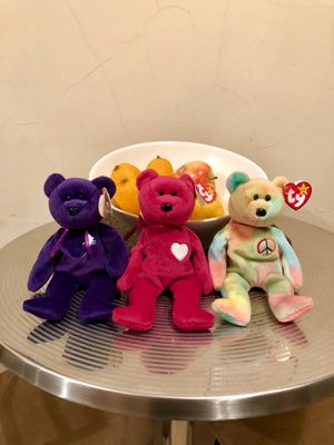 First edition vintage beanie babies (Princess Diana, Valentina and peace) for Sale, used for sale  New York, NY