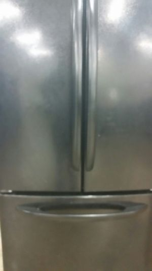 Black french door refrigerator bottom freezer 3 months warranty for Sale in Alexandria, VA