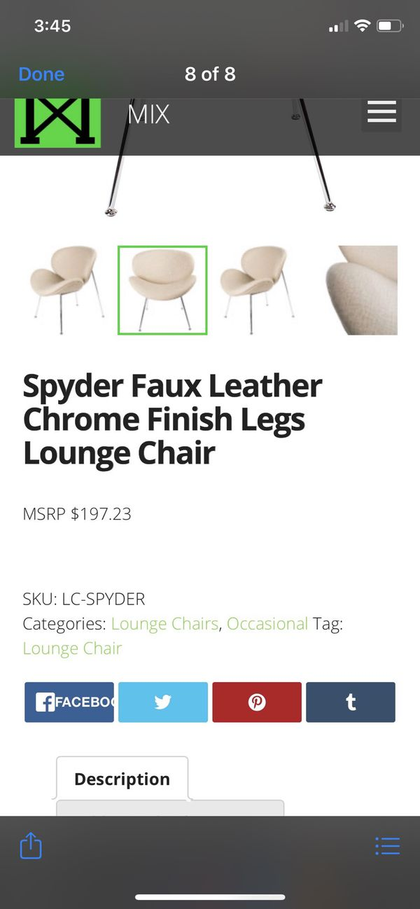 Spyder faux leather accent chrome accent chair **