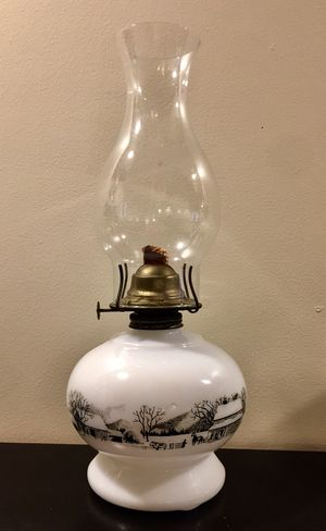 Antique Milk Glass Oil Lamp for Sale in Woodstock, GA