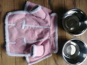 Doggie coat and 2 food bowls for Sale in Detroit, MI