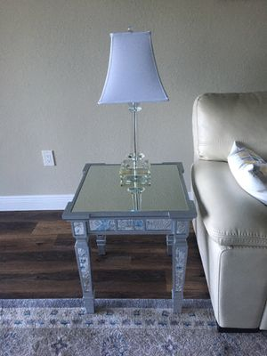 Mirrored coffee table with 2 matching end tables and 2 lamps for Sale in Naples, FL